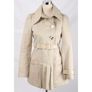 Mackage Beige Leather Trim Belted Trench Coat